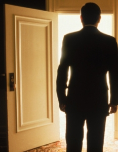 man leaving